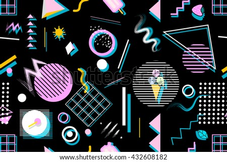 Graphic seamless pattern with geometric shapes. Stylish trendy fabric. Modern abstract wallpaper. Vector illustration.