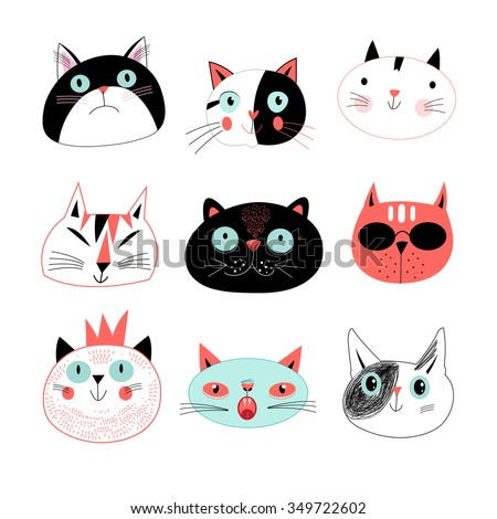 Graphic seamless  portraits of cats on a blue background - stock vector