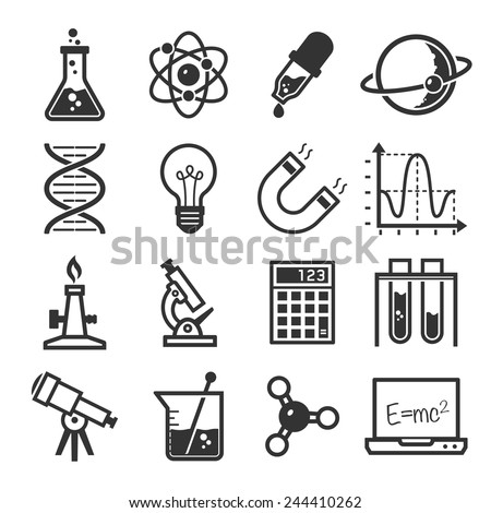 graphic set science and chemical objects on white background // BW - stock vector