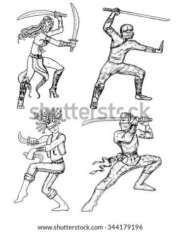 Graphic set with warriors and ninja armed with swords, katana and daggers. Hand drawn engraved illustration with people.  - stock vector