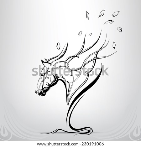 Graphic silhouette of a horse - stock vector