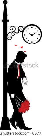 Graphic silhouette of the man. Waiting the woman under clock. Stefan series - stock vector