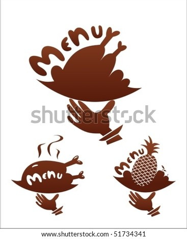 Graphic silhouettes for menu card - stock vector