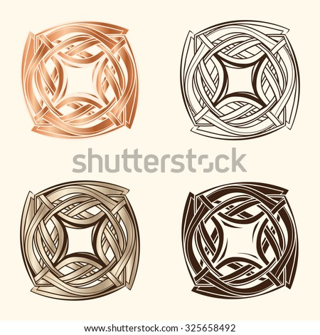 Graphic tattoo element for your design, ancient symbol, interlaced celtic square logo. - stock vector
