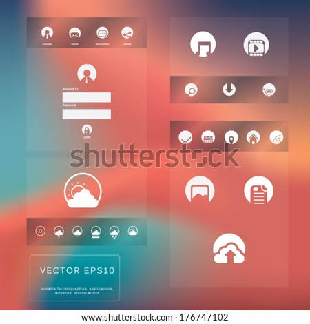 Graphic user interface vector illustration with various icons in modern flat design suitable for web design, tablet, smartphone user interface, etc. Eps10 vector illustration - stock vector