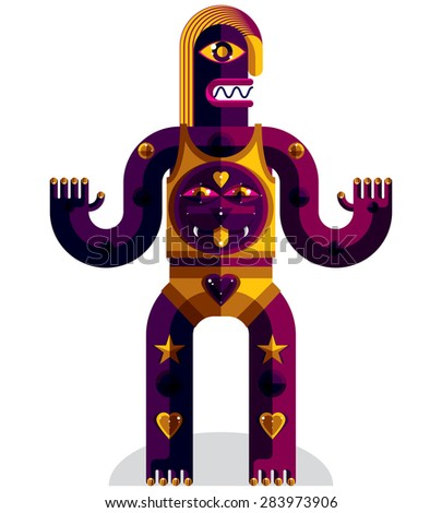 Graphic vector illustration of weird beast, anthropomorphic character isolated on white, decorative modern avatar made from geometric figures.  - stock vector