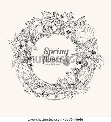 Graphic vector illustration. Wreath of flowers on a beige background. Hand drawn artwork. Love concept for wedding invitations, cards, tickets, congratulations, branding. Gift for young girl and women - stock vector