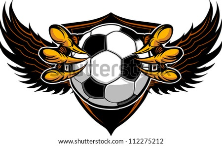 Graphic Vector Image of a  Eagle Claws or Talons Holding Soccer Ball - stock vector