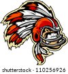 Graphic Vector lllustration of an Indian Chief Football Mascot with Feathers on Football Helmet - stock