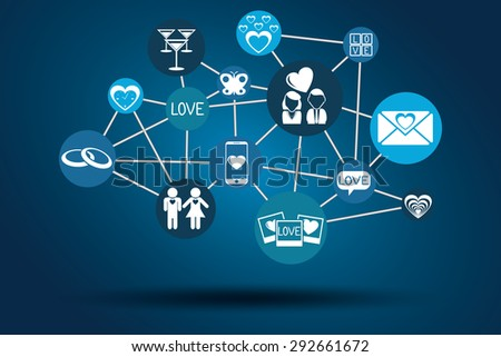 Graphic Vector Network Love for different purchase
