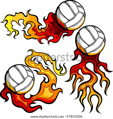 Graphic volleyball sport vector image with flames - stock vector