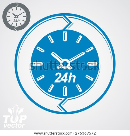 Graphic web vector 24 hours timer, around-the-clock flat pictogram. Day-and-night interface icon. Business time management illustration, additional version included. - stock vector