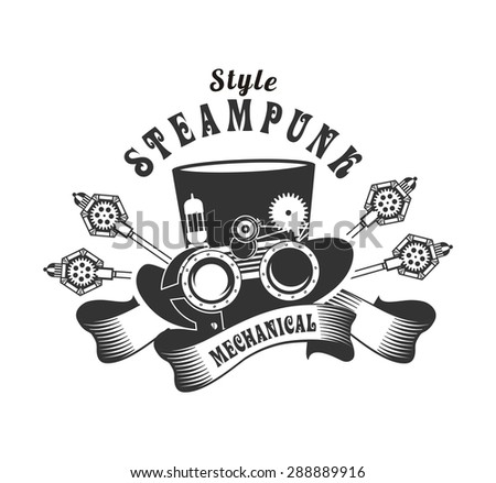 Graphical badge Steam punk hat with horns adorned banners and ribbons - stock vector