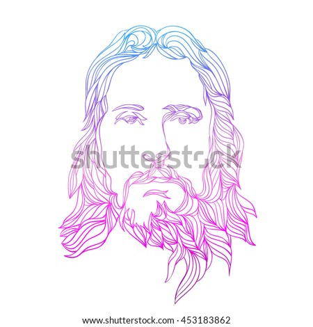 Graphical Color Face Jesus Hand Drawn Stock Photo (Photo, Vector ...