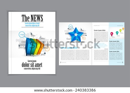 Graphical design magazine template. Eps 10 vector - stock vector