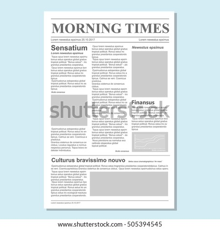 Graphical Design Newspaper Journal Template Vector Stock Vector