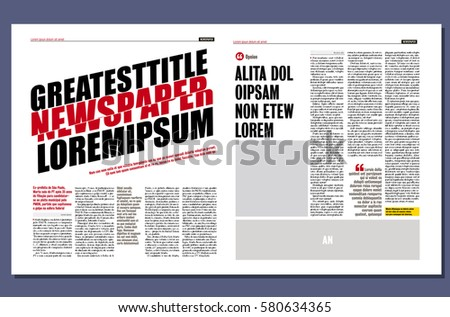 Graphical Design Newspaper Template Diagonal Title Stock Vector