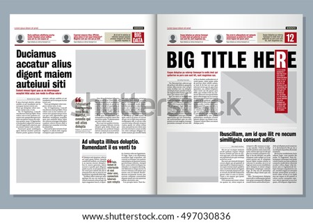 Graphical Layout Newspaper Template Stock Vector 216855652
