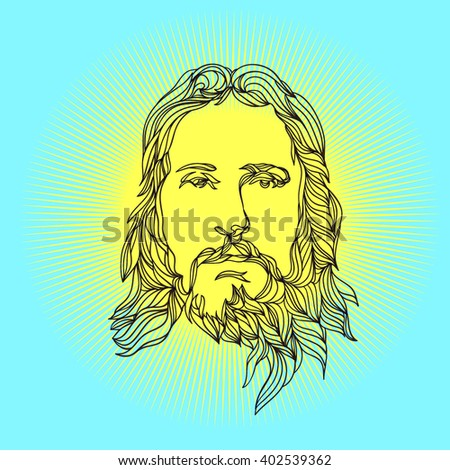 graphical face of Jesus .Face of Jesus. Hand drawn art. - stock vector
