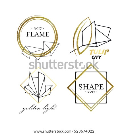 Graphical labels with geometrical scratched shapes, black and golden logo vector package