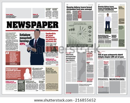 Graphical Layout Newspaper Template Stock Vector