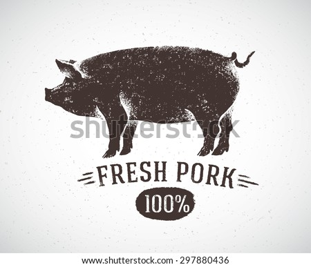 Graphical pig, hand drawing illustration. - stock vector