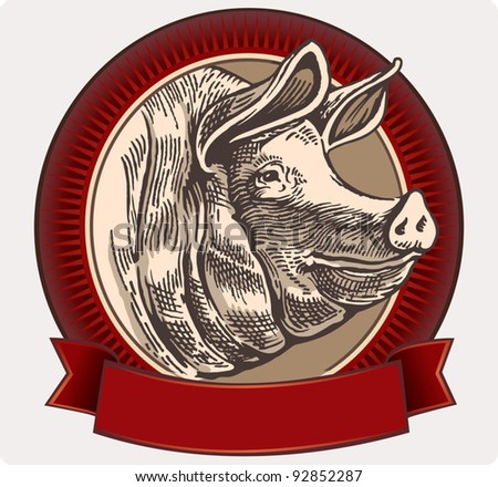 Graphical pig in a frame for label design. - stock vector