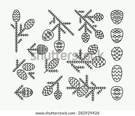 Graphical vector linear set of firtree cones - stock vector