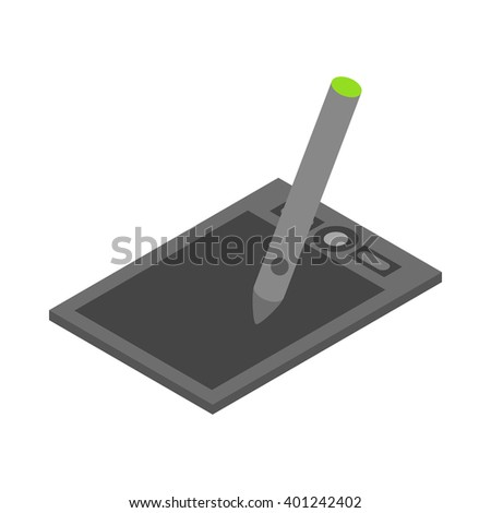 Graphics tablet icon, cartoon style - stock vector
