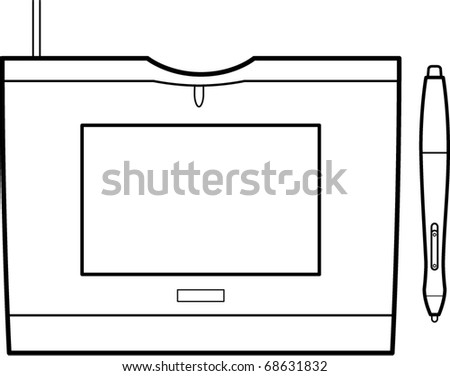 graphics tablet line art - stock vector