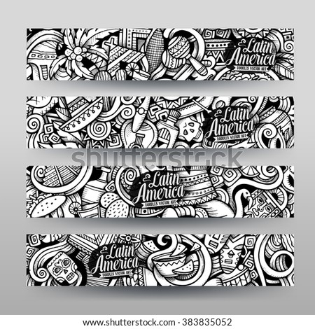 Graphics vector handdrawn sketchy trace latin stock vector 383835052 graphics vector hand drawn sketchy trace latin american doodle horizontal banners design templates set toneelgroepblik Gallery