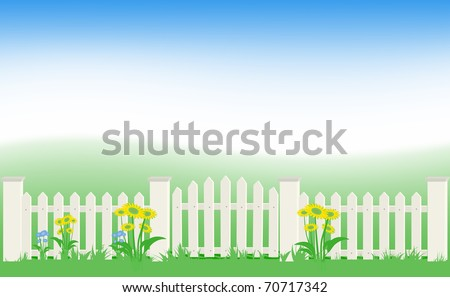 Grass and fence under blue sky. Vector Illustration. EPS8 - stock vector