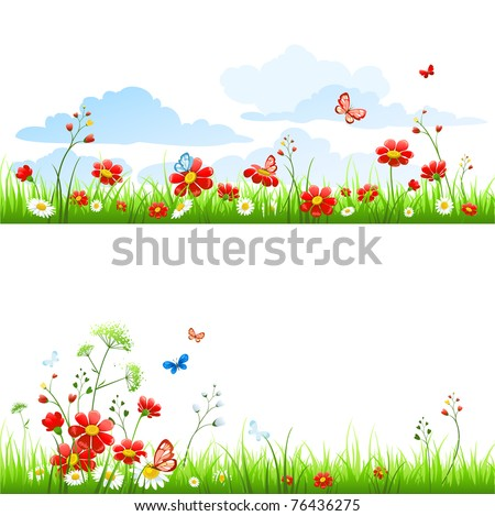 Grass and flowers - stock vector