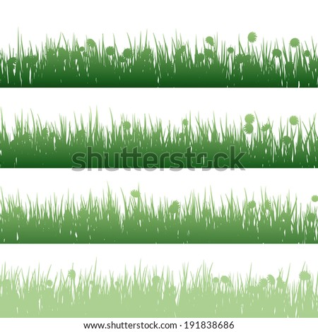 Grass and plants detailed silhouettes on white.  EPS 10 vector - stock vector