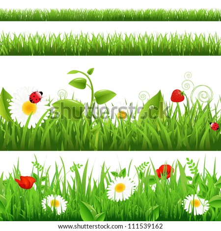 Grass Backgrounds Set With Flowers And Ladybug, Vector Illustration - stock vector