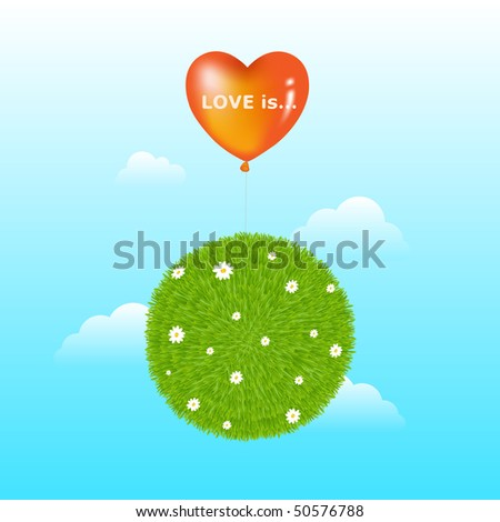 Grass Ball With Red Heart Shape Balloon, Flowers And Clouds - stock vector