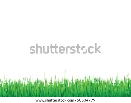 grass border background, vector can be re-arranged for seamless effect - stock vector