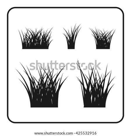Grass bushes set. Nature plant background. Collection black silhouettes isolated on white. Symbol of field, lawn, spring and meadow, fresh, summer. Elements for design environment. Vector illustration - stock vector