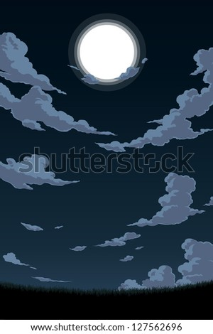 Grass Field During Full Moon - stock vector