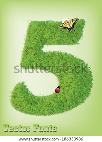 Grass font number 5 - stock vector