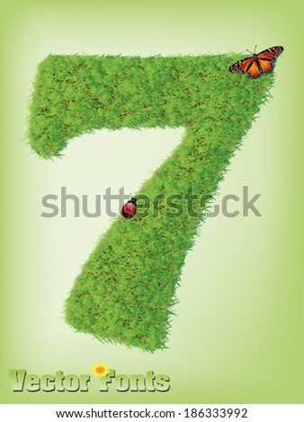Grass font number 7 - stock vector