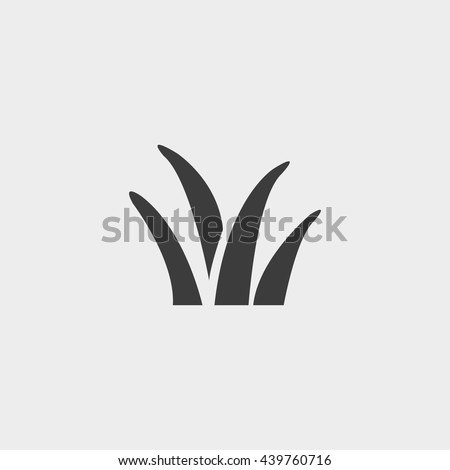 grass icon in a flat design in black color. Vector illustration eps10 - stock vector