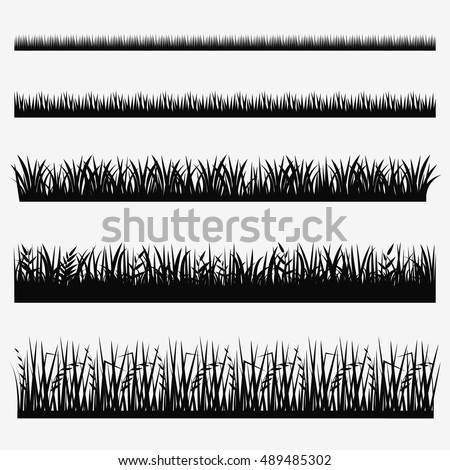 Grass icon set. Vector grass border collection.