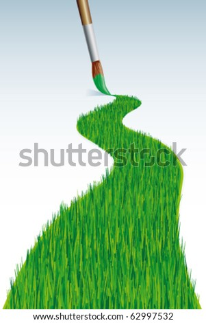 Grass line with brush - stock vector