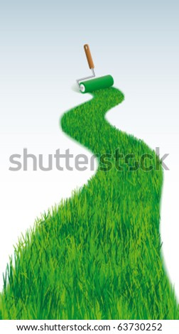 Grass line with  paint roller - stock vector