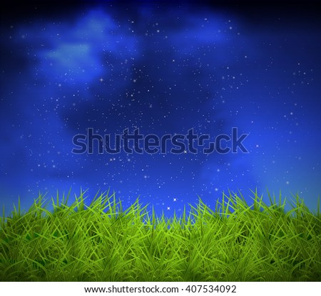 grass on a background of night sky - stock vector