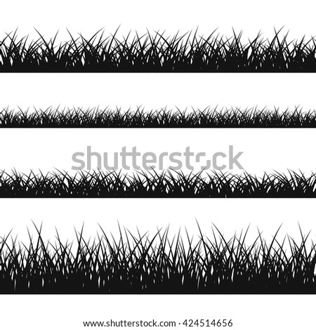 Grass silhouette seamless pattern. Nature lush landscape background Horizontal black contour isolated on white. Symbol of field lawn, park and meadow, fresh, summer. Design element Vector illustration