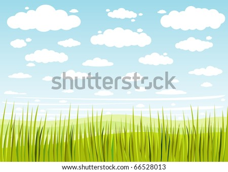grass sky and clouds background - stock vector