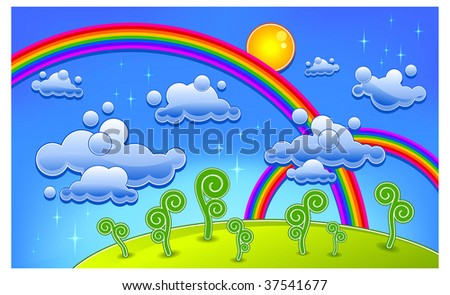 Grass, trees and two rainbow, cartoon landscape, vector illustration - stock vector