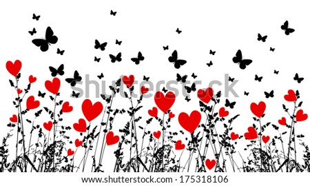 Grass with hearts and butterflies. Vector - stock vector